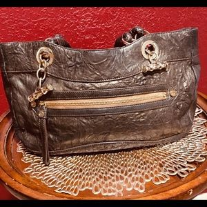 ELAINE TURNER Brown Leather Purse w/Gold Accents